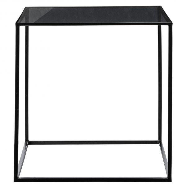 Table Basse Design Métal & Verre Noir Bloomingville - 50 cm