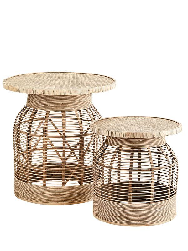 Set de 2 Tables Basses en Rotin - Naturel
