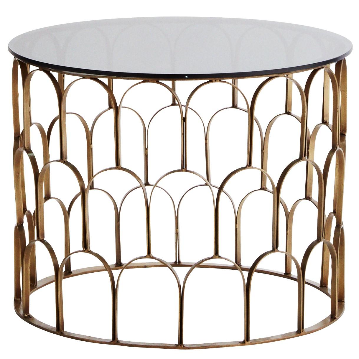 Table Basse Ronde Art Deco table basse Écailles laiton & verre fumé