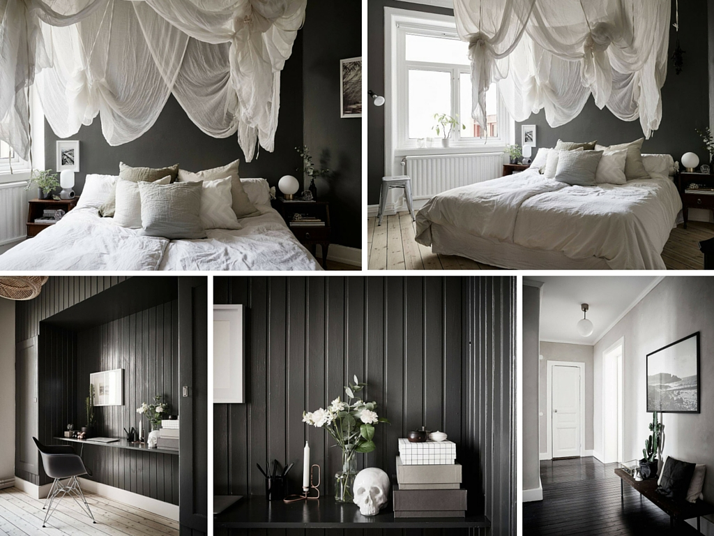 blog d co nordique un appartement black white stockholm. Black Bedroom Furniture Sets. Home Design Ideas