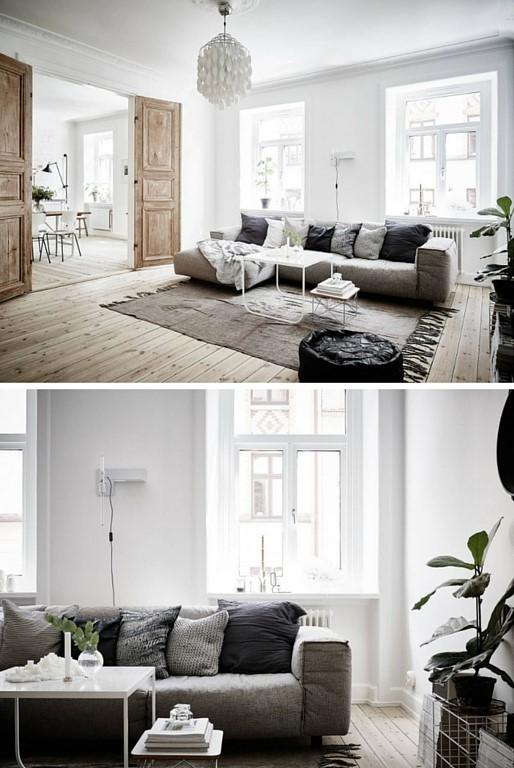 Blog d co nordique un appartement black white stockholm - Salon chaleureux ...